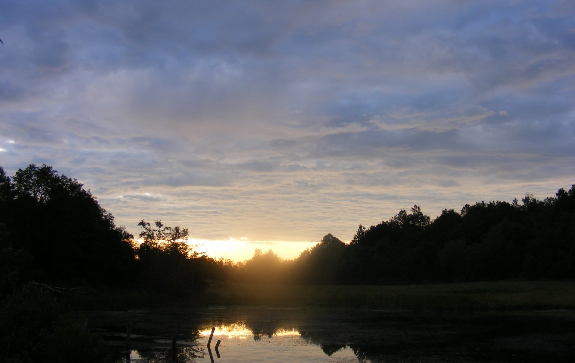 Sunset on pond rural building lot