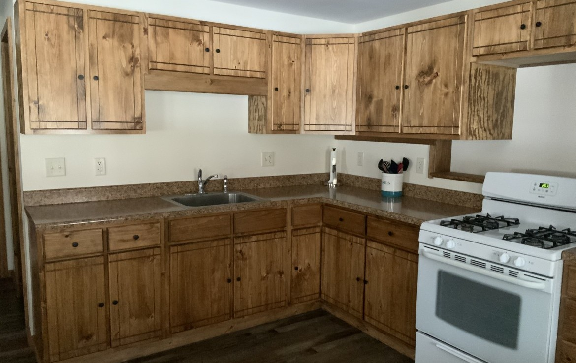 Walk-in finished basement with full bathroom, kitchen, wood stove, two storage rooms (one could be a finished bedroom).